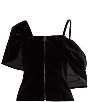 Osman Candice Velvet Zip Front Top - Womens - Black