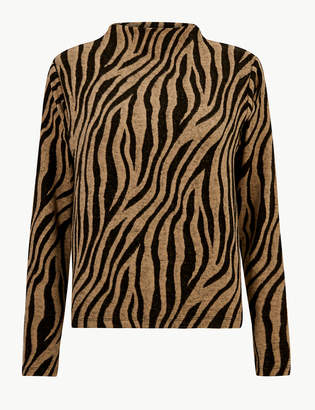 Marks and Spencer Animal Print High Neck Long Sleeve Top
