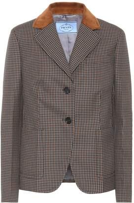 Prada Wool-blend houndstooth blazer