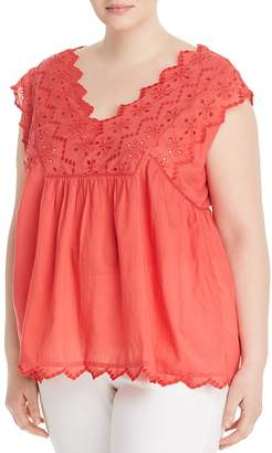 Lucky Brand Plus V-Neck Eyelet Top