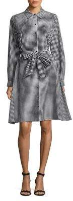 Lord & Taylor Bow-Front Gingham Shirt Dress