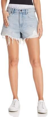 Alexander Wang Bite Mix Layered-Look Denim Shorts in Bleach