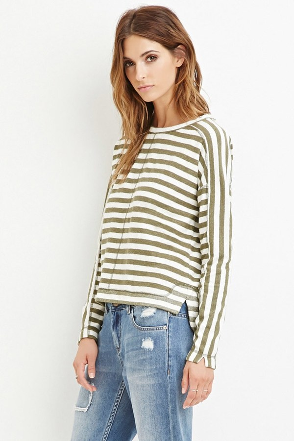 FOREVER 21+ Contemporary Striped Reverse French Terry Top