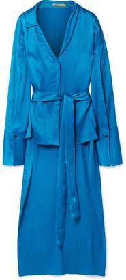 Hellessy Kirsten Plissé Silk-satin Blouse - Cobalt blue