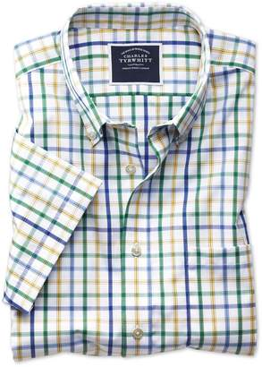 Charles Tyrwhitt Slim Fit Non-Iron Green Multi Check Short Sleeve Cotton Casual Shirt Single Cuff Size Large