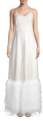 Sarah Jessica Parker Embellished Feather-Hem Long Dress