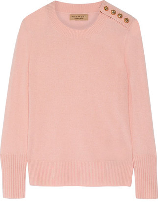 Burberry - Button-detailed Cashmere Sweater - Pastel pink $650 thestylecure.com