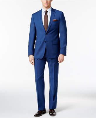 Calvin Klein Men's Slim Fit High Blue Pindot Suit $650 thestylecure.com