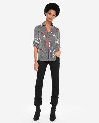 Express Petite Slim Fit Floral Gingham Portofino Shirt