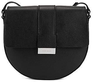 HUGO BOSS Cross-body saddle bag in grainy Italian leather
