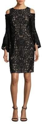 Xscape Evenings Patterned Cold-Shoulder Dress