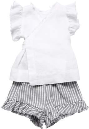 Il Gufo Linen Top & Striped Shorts
