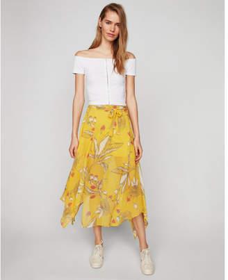 Express high waisted asymmetrical hem floral midi skirt