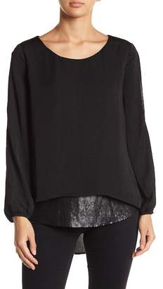 Democracy Sequin Contrast Hem Cold Shoulder Twofer Blouse