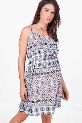 Damen Mama Faith Sommerkleid mit schmalen Trägern und Azteken-Print in