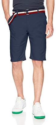 WT02 Men's Basic Chino Shorts with Matching Belt in Solid Colors