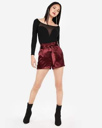 Express High Waisted Pleated Satin Sash Waist Shorts