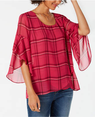 Style&Co. Style & Co Petite Plaid Crossover Top, Created for Macy's