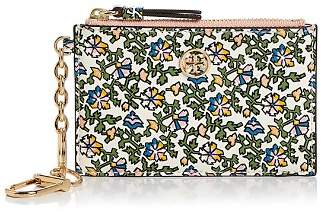 Tory Burch Robinson Floral Leather Card Case & Key Fob