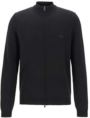 HUGO BOSS Knitted sweater in cotton with two-way front zip