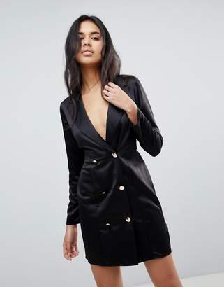 Asos Design Button Detail Mini Tux Dress