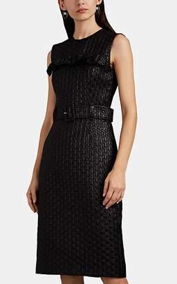 Prada Women's Ruffle Cloqué Belted Sheath Dress - Black