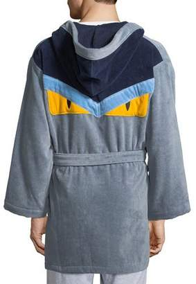 Fendi Monster Hooded Robe, Gray/Blue