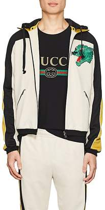 Gucci Men's Embroidered Tech-Jersey Hooded Track Jacket