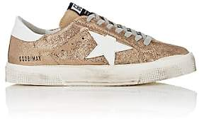 Golden Goose Women's May Cracked Leather Sneakers - Gold