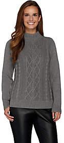 Susan Graver Cotton Acrylic Cable SweaterTurtleneck
