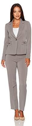 Tahari by Arthur S. Levine Women's Petite Size Pebble Crepe One Button Pant Suit