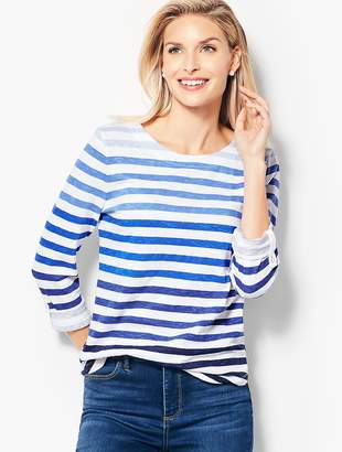 Talbots Cotton Roll-Cuff Top - Ombré Stripe
