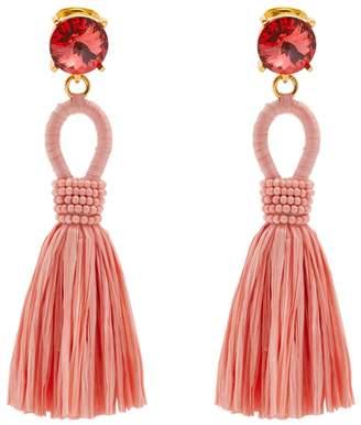 Oscar de la Renta Raffia tassel-drop clip-on earrings