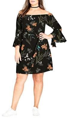 City Chic Plus Wild Floral Bell-Sleeve Tunic