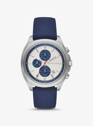 Michael Kors Bryson Silver-Tone and Silicone Watch