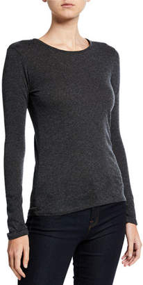 Neiman Marcus Majestic Paris for Cotton/Cashmere Long-Sleeve Crewneck Tee