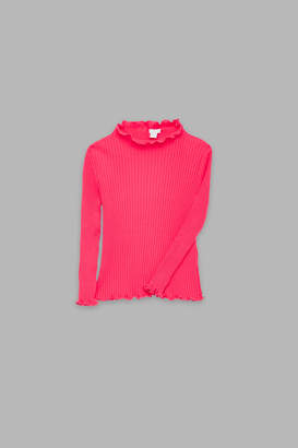 Cos FRILLED-EDGE RIBBED TOP