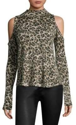 Generation Love Lena Leopard Cold-Shoulder Cashmere Top