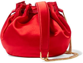 Diane von Furstenberg - Love Power Mini Leather-trimmed Satin Bucket Bag - Red $200 thestylecure.com