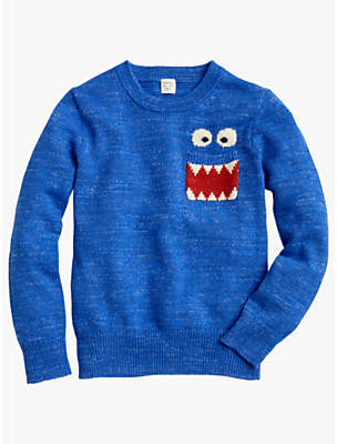 J.Crew crewcuts by Boys' Max The Monster Crew Neck Jumper, Heather Blue