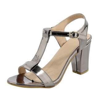 Agodor Women's Block Heel T Strap Open Toe Pumps High Heels Slingback Sandals Summer Shoes