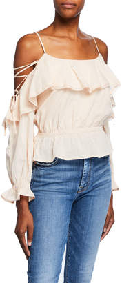Astr Marie Ruffle Off-the-Shoulder Top