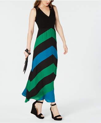 INC International Concepts I.n.c. Colorblocked Chevron-Stripe Maxi Dress