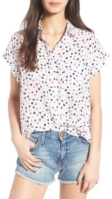Women's Rails Chase Heart Print Silk Shirt $178 thestylecure.com