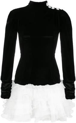 Alessandra Rich Two Tone Ruffle Dress