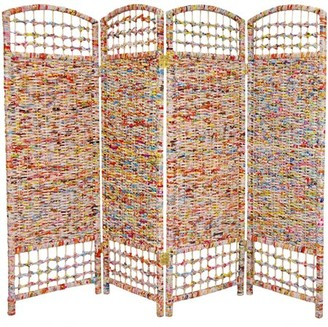 Oriental Furniture 4'Tall Recycled Magazine Room Divider