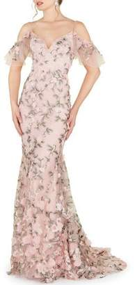 Mac Duggal Off-the-Shoulder Flower-Embellished Sweetheart Gown