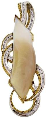 Yellow & White Gold with 30.00ct Australian Opal & 0.64ct Diamond Nugget Border Channel Pendant