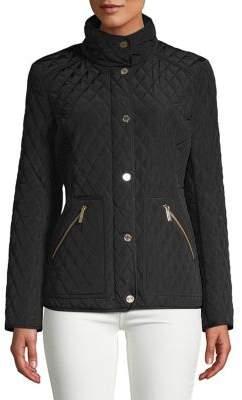MICHAEL Michael Kors Stand-Collar Diamond-Quilt Coat