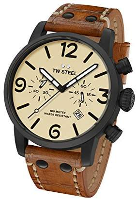 TW Steel Men's Maverick' Quartz Stainless Steel and Leather Casual Watch